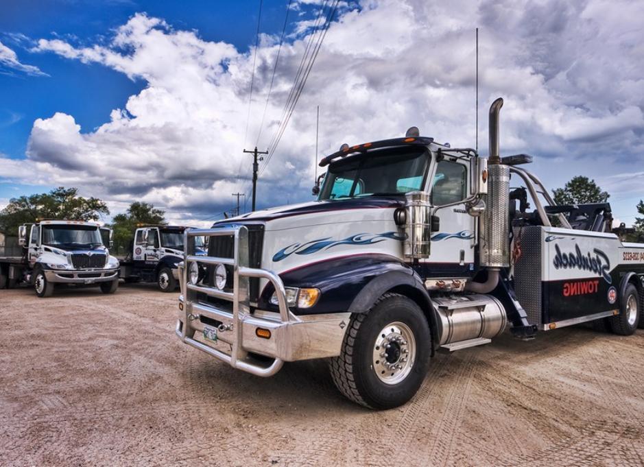 Close up semi truck