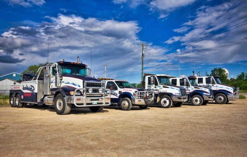 Line up of semi trucks